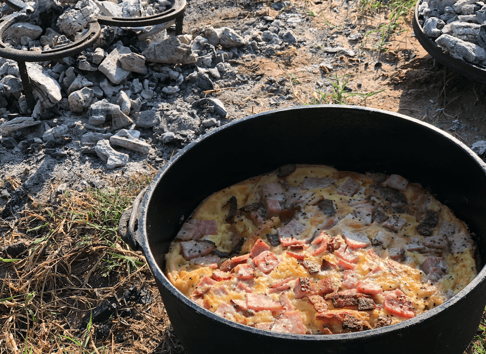 Are Yall Looking For A Quick And Easy Camping Breakfast Recipe Im Fixin To Show You One That Is Waffle Bacon Egg Ham Pot Bake